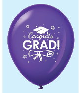 "11"" Congrats Grad Latex Balloons 25 Count Purple"