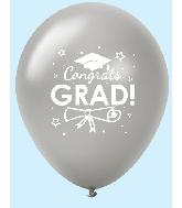 "11"" Congrats Grad Latex Balloons 25 Count Silver"