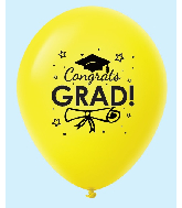 "11"" Congrats Grad Latex Balloons 25 Count Yellow"