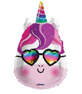 "18"" Unicorn With Glasses Shape Foil Balloon"