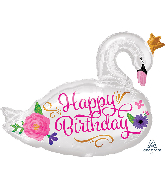"29"" Jumbo Happy Birthday Beautiful Swan Foil Balloon"