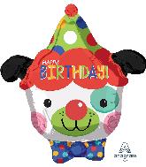 "18"" Happy Birthday Clown Dog Foil Balloon"