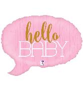 "24"" Foil Shape Hello Baby - Pink Foil Balloon"