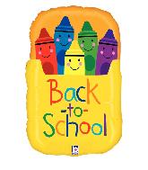"28"" Foil Shape Back to School Crayon Box Foil Balloon"