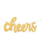 """47"""" Air-filled Shape Cheers Script - Gold Foil Balloon"""