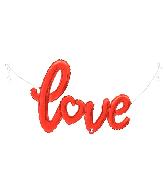 """47"""" Air-filled Shape Love Script- Red Foil Balloon"""