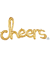 """40"""" Airfill Only Script Phrase """"Cheers"""" Gold Foil Balloon"""