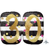 """25"""" Jumbo Pink & Gold Milestone 30 Foil Balloon"""