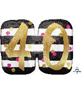 """25"""" Jumbo Pink & Gold Milestone 40 Foil Balloon"""