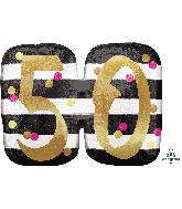 """25"""" Jumbo Pink & Gold Milestone 50 Foil Balloon"""