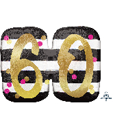 """25"""" Jumbo Pink & Gold Milestone 60 Foil Balloon"""