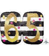 """25"""" Jumbo Pink & Gold Milestone 65 Foil Balloon"""