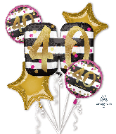 Bouquet Pink & Gold Milestone 40 Foil Balloon