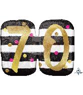 """25"""" Jumbo Pink & Gold Milestone 70 Foil Balloon"""