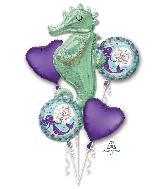 Bouquet Mermaid Wishes Seahorse Foil Balloon