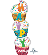 "41"" Jumbo Birthday Stacked Cupcake Foil Balloon"