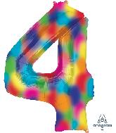 """34"""" Number 4 Rainbow Splash Foil Balloon"""