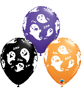 "11"" Latex Balloons Emoticon Ghosts 50 Per Bag"