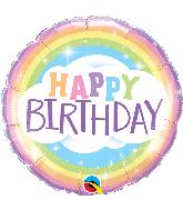 """18"""" Round Birthday Rainbow Foil Balloon"""