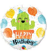 """18"""" Round Birthday Party Cactus Foil Balloon"""
