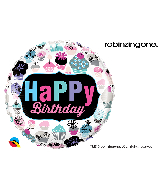 "18"" Round Birthday Cupcakes Emblem Foil Balloon"