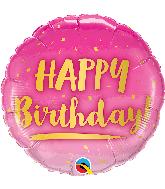 """18"""" Round Birthday Gold & Pink Foil Balloon"""