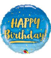"18"" Round Birthday Gold & Blue Foil Balloon"