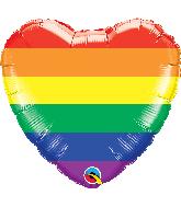 "18"" Heart Rainbow Stripes Pride Foil Balloon"