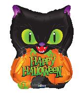 """18"""" Halloween Cat & Pumpkin Foil Balloon"""