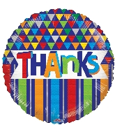 "18"" Thanks Lines & Triangles Foil Balloon"