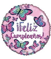 "18"" Feliz Cumple Butterflies Foil Balloon"