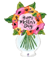 "37"" Clear Shape Mother's Day Vase Foil Balloon"
