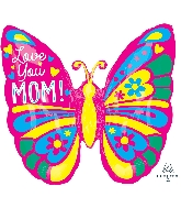 """25"""" Love You Mom Butterfly ColorBlast XL Foil Balloon"""