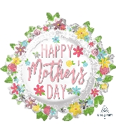 """30"""" Happy Mother's Day Wreath SuperShape Foil Balloon"""
