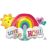 "30"" Love You Mom Rainbow SuperShape Foil Balloon"