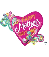 "32"" Happy Mother's Day Paisley Swirls Foil Balloon"