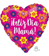 "28"" Feliz Dia Mama Flowers Jumbo Foil Balloon"