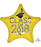 "18"" Class of 2018 - Yellow Star Shape Foil Balloon"