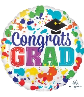 "28"" Congrats Grad Paint Splotch Jumbo Foil Balloon"