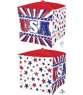 "15"" USA Stars & Stripes UltraShape Cubez Foil Balloon"