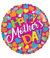 """18"""" Happy Mother's Day Clolorful Hearts Foil Balloon"""