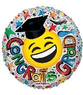 """9"""" Airfill Only Congrats Grad Smiley Ho Foil Balloon"""