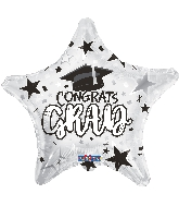 "18"" Grad Star White Foil Balloon"