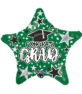 "18"" Grad Star Green Foil Balloon"