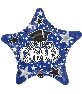 "18"" Grad Star Blue Foil Balloon"