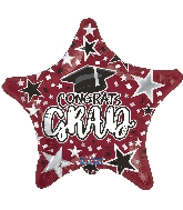 "18"" Grad Star Burgundy Foil Balloon"