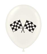 """17"""" Checkered Flag Printed Latex Balloons 50 Per Bag"""