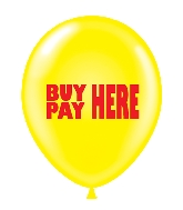"17"" Buy Here Pay Here Printed Latex Balloons 50 Per Bag"