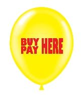 "17"" Buy Here Pay Here Printed Latex Balloons 50 Per Bag"