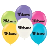 "17"" Welcome Printed Latex Balloons 50 Per Bag"